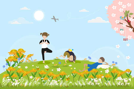 Cute cartoon Spring landscape with Children having fun the the park, boy sleeping with cat under the tree, other kids doing yoga. Vector spring scene with birds family standing on cherry blossom branches.