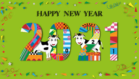 Cute cartoon Happy New Year, Happy Chinese new year greeting card with cow standing with 2021, Animal holidays character zodiac,Year of the ox
