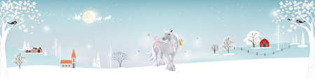 Winter landscape farm field in village,Fantasy cute cartoon of fairies flying and playing with white unicorn, Christmas night,Vector illustration banner for Merry Christmas and New year background