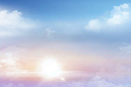 Morning sky,  Dramatic atmosphere with patel tone in orange pink yellow, blue and white fluffy clouds,  Beautiful scene soft blue sky and cloudy sunrise background, 版權商用圖片
