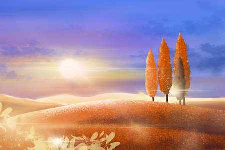 Illustration Autumn landscape with sunset and  golden light, Digital paint panorama fall season at farm fields in evening with beautiful sunlight , dusk skys and orange pine trees on hills.