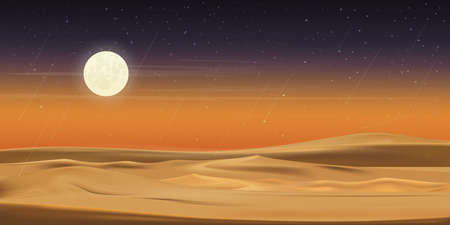 Desert landscape with sand dunes, full moon and shining stars and comet falling over sand dunes in dark night,vector illusion Minimalist panoramic realistic cartoon of nature, sand with the moon.
