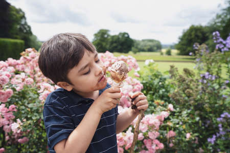 Portrait happy boy eating ice cream, Child boy having fun playing in the garden in sunny day summer, Candid shot Young boy with dirty face from ice cream