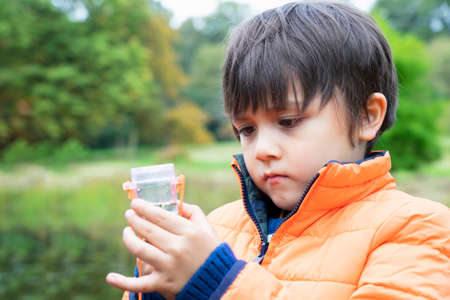 Kid catching creatures in pond, Little boy looking at inect in bug box, Selective focus of Child explorer and learning about wild nature in countryside, Autumn outdoors activity for children 版權商用圖片
