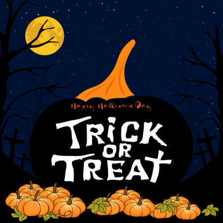 Halloween night Background with Full moon and Happy Halloween day, Trick or Treat text on black pumpkin, Vector Illustration for holiday cards or party invitations 版權商用圖片