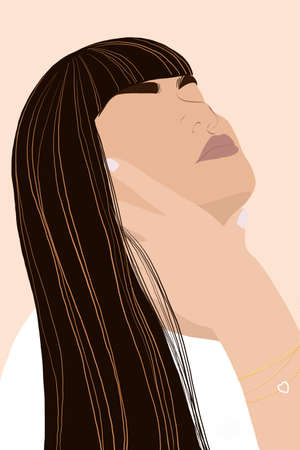 Hipster style young asian girl character with long hair, Portrait a beautiful working woman side view face, Girl avatar face, Digital paint Kawaii Cartoon illustration 版權商用圖片