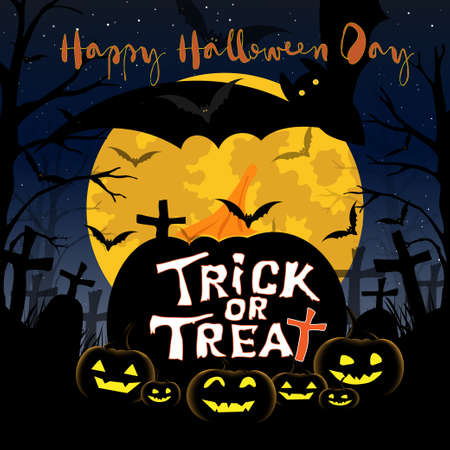 Vector Illustration pattern seamless Halloween Background with bat flying, zombie hand,grave, pumpkins face,Trick or Trea tand Happy Halloween.