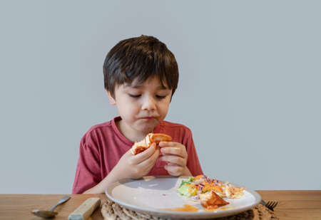 School kid eating salmon steak and mixed vegetables salad for his meal, Happy child having healthy lunch or dinnerat home, Cute boy eating organic carrot, sweet bell and Chinese cabbage