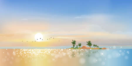 Panorama view Tropical seascape of blue ocean and coconut palm tree on island,Panoramic Sea beach with pink and blue sky,Vector illustration beautiful nature of landscape seaside in morning for Summer holiday 向量圖像