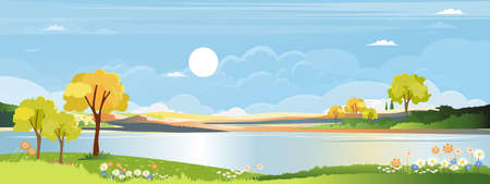 Panorama landscape of spring village by the river with green meadow on hills with bluesky, Vector Summer or Spring landscape, Panoramic countryside by the lake with sunset in evening.