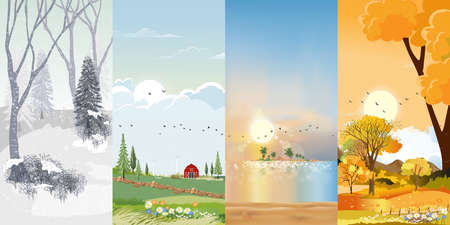 Set Vertical banner landscape natural backgrounds of four seasons. Winter wonderland, Rainy on Spring,Hot sunny day on summer, Autumn with leaves falling.Set cartoon flat design 4 seasons background illustration