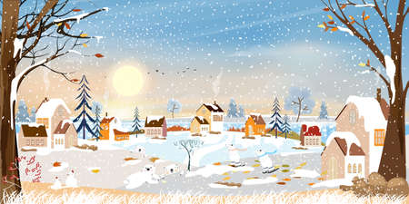 Winter landscape, Celebrating Christmas and new year in village at night with star and blue sky, Vector of horizontal banner winter wonderland in countryside with happy polar bear playing in the park