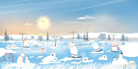 Winter landscape at arctic ocean with white polar bear family playing ice skates and lying on ice edge with snowing. Panorama view of Polar bear with her cups relaxing on ice floe in sunny day winter 向量圖像