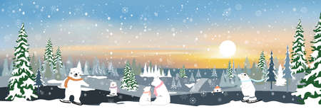 Vector winter landscape with mountain landscape of misty pine trees forest in the morning, Peaceful panorama natural with happy family polar bear and cubs relaxing in evening