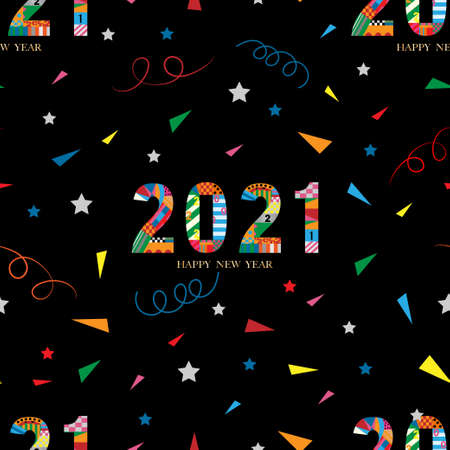 Seamless tiny paper cut happy new year 2021 with geometric shape pattern, swirled and star on black background,Cute element designs pattern for New year or Christmas wrapping paper background.