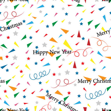 Seamless Happy new year and Merry Christmas with geometric tiny  shape pattern, swirled and star on white background,Cute element designs pattern for New year or Christmas wrapping paper background.