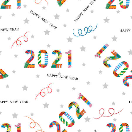 Seamless tiny paper cut happy new year 2021 with geometric shape pattern, swirled and star on white background,Cute element designs pattern for New year or Christmas wrapping paper background.