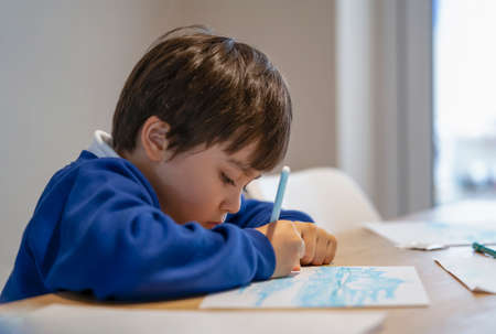 Portrait of school kid sitting alone doing homework, Child boy holding colour pen drawing and writing on white paper on table, Elementary school and homeschooling concept