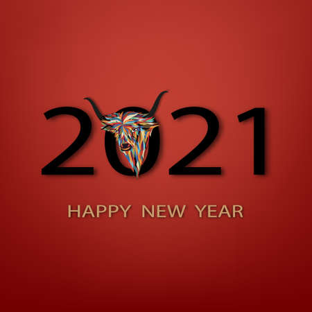 Happy New Year 2021 with colorful paper cut ox,Vector illustration  Happy Chinese new year greeting card with head cow on 2021 in red background, Animal holidays character zodiac,Year of ox
