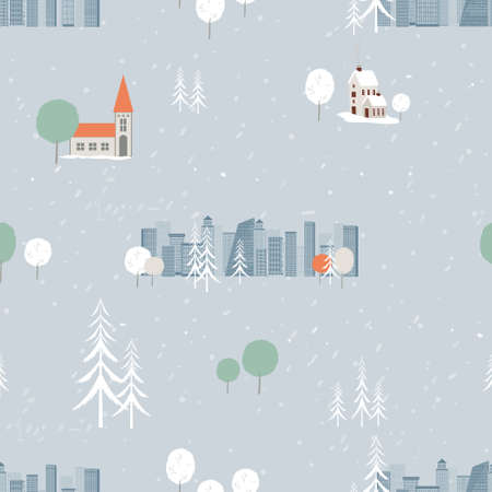 Seamless cityscape in Christmas Eve with snow falling,Endless pattern winter landscape at downtown in cold day, Vector flat design winter house, tree and snow for New year or Christmas wrapping. 向量圖像