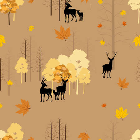 Seamless Autumn landscape with reindeer in forest, Pattern autumnal background with family deers with random orange and yellow leaves.Endless texture for Fall season