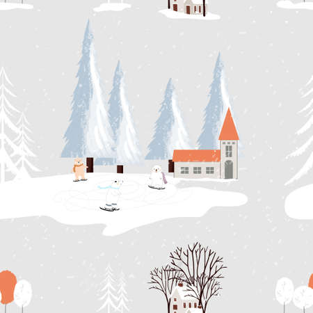Seamless small village in Christmas Eve with polar bear playing ice skate in park,Endless pattern winter landscape at downtown with snow falling,Vector pattern for New year, Merry Christmas background