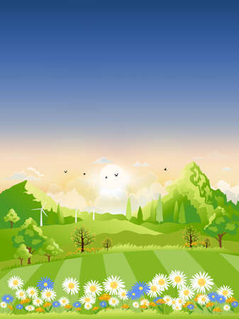 Spring landscape,View of spring village, green meadow on hills with blue sky, Vector cartoon Spring or Summer landscape, Panoramic countryside landscape mountains with wild flowers fields