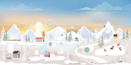 Winter landscape,Vector winter wonderland banner at village with Happy kids sledding in the park and couple skiing on the mountain, Merry Christmas or New year background 向量圖像
