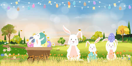 Spring field with bunny hunting Easter eggs,Vector Cute cartoon rabbits and hunny bees flying in grass field. Spring or Summer time banner with copy space for easter greeting card background 向量圖像