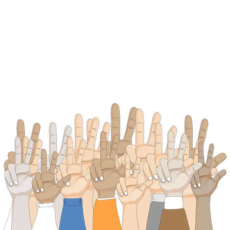 Group of people Hands showing three fingers on white background, Vector illustration three finger gesture sign, Cartoon Hand showing number 3, Raise 3 fingers symbolic gestures concept.