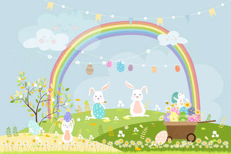Spring field with rainbow, bunny hunting Easter eggs,Vector Cute cartoon rabbits playing in green grass field. Spring or Summer time banner with copy space for easter greeting card background 向量圖像