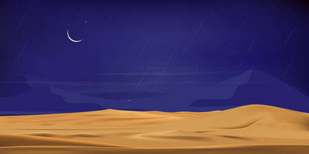 Desert landscape with sand dunes, full moon and shining stars and comet falling over sand dunesatat dark night for banner or background in ramadon, vector illusion