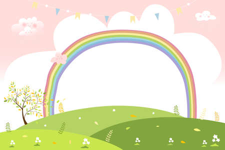 Cute cartoon Spring landscape with copy space, Vector summer green field with rainbow pastel colour and pink sky,Spring or Summer background, Banner template for Easter greeting card 向量圖像