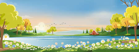 Spring landscape in village with green meadow on hills with blue sky, Vector cartoon Summer or Spring panorama view, Panoramic countryside of green field with wood barn and grass flowers
