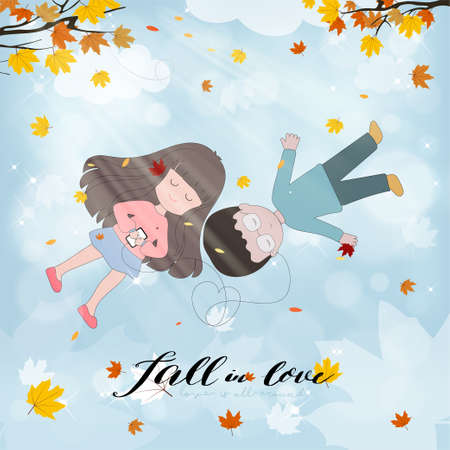 Valentine'S Day.girl and boy lying together under branches autumn leaves with sunlight shining.Cute cartoon Autumnal young couple in love listening music in the park with blue sky