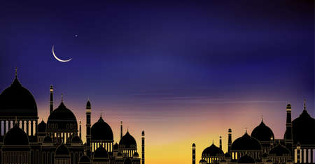 Mosque silhouette with blue, pink and orange sky sunset in evening, Peacful view of isamic mosque at night with crescent moon and star shining, Background for Ramadan Kareem