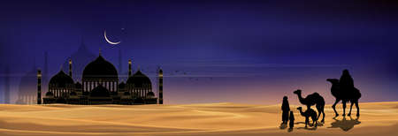 Mosque silhouette with Arab family and camel walking in desert sands in evening sunset with dark blue and pink sky,Islamic mosque at night with crescent moon and star shining,Ramadan Kareem background