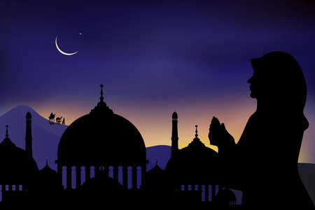 Mosque silhouette,Arab women praying,family and camel walking in desert in dark night during the month of ramadan,Muslim woman praying with Islamic mosque and crescent moon background,Ramadan Kareem 向量圖像