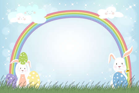 Happy Easter with Spring nature, bunny egg hunt in green field with rainbow in rainy day.Vector summer background with abstract blurry bokeh sun light effect.Tamplate banner for Easter