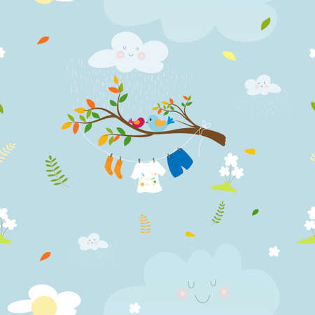 Seamaless spring nature with kids cloth hanging on string in rainy day and Birds standing on branch tree,Vector Cute pattern cartoon of Spring field on blue background, Spring or Summer time concept 向量圖像