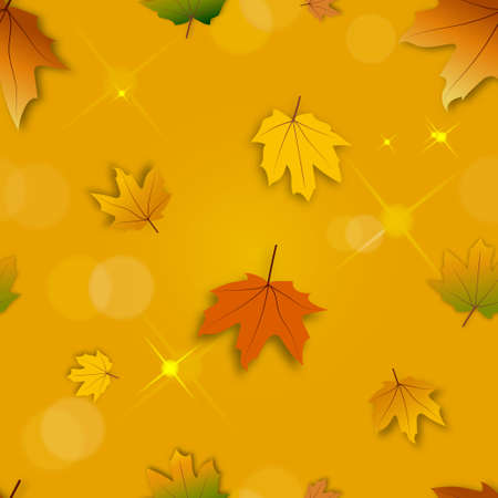 Seamless pattern Autumn background with bokeh effect,Maple leaves in orange and red leaves on blurry bokeh background, Fall season concept with maple foliage on defocused sunlight effect