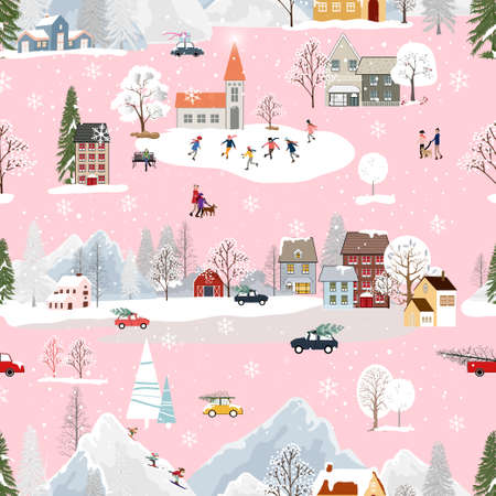 Seamless Christmas landscape in the town with fairy tale houses,snowflakes,Christmas trees with decorations,Vector pattern winter wonderland in the village with happy people playing ice skate