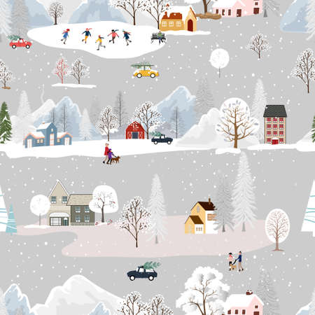 Seamless pattern Winter landscape in small town with people celebrating, Vector cute winter wonderland in the village with happy people playing ice skate in the park.