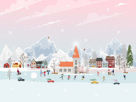 Winter landscape at night with people having fun doing outdoor activities on new year,Christmas day in village with people celebration, kid playing ice skates, teenagers skiing with snow falling Ilustración de vector
