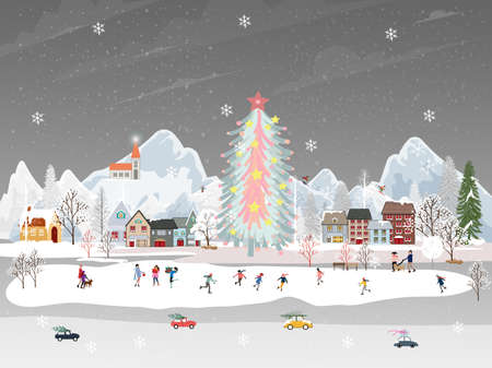 Winter landscape at night with people having fun doing outdoor activities on new year,Christmas day in village with people celebration, kid playing ice skates, teenagers skiing with snow falling 向量圖像