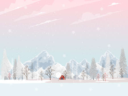 Winter landscape,Vector landscape field of trees with snow falling, Winter wonderland with pine tree and mountain, Cute cartoon Minimal greeting card for Christmas and New year background 向量圖像