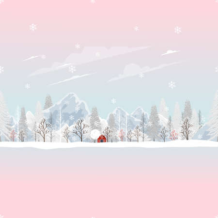Seamless Winter landscape,Vector landscape  pattern field of trees with snow falling, Winter wonderland with pine tree and mountain, Cute cartoon Minimal for Christmas and New year background 向量圖像