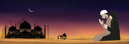 Mosque silhouette with Muslim man and woman making a supplication (salah)sitting on desert sand,Arab family and camel walking,Islamic mosque at night with crescent moon and star, Ramadan Kareem background