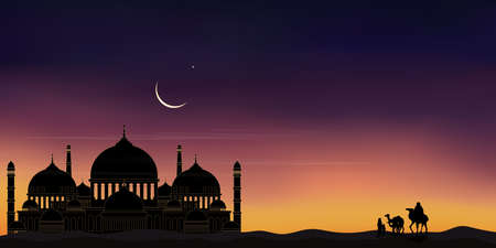 Mosque silhouette with Arab family and camel Mosque silhouette with Arab family and camel walking in desert sands in evening sunset with dark blue and pink sky,Islamic mosque at night with crescent moon and star shining,Ramadan Kareem background 向量圖像