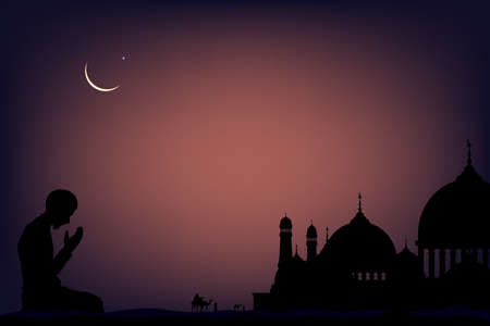 Silhouette Muslim man making a supplication (salah)sitting on desert sand,Arab family and camel walking,Islamic mosque at night with crescent moon and star, Ramadan Kareem background